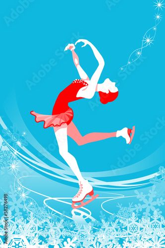 Figure Skating woman -blue color