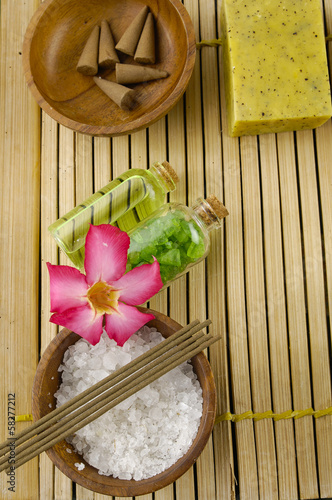 Tropical spa on bamboo mat