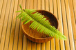 Wooden Bowl with fern on wooden mat