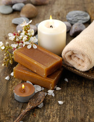 Aromatic spa set with candle ,towel , stones, flower, soap