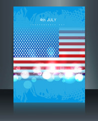 American flag independence day brochure card reflection vector i