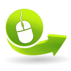souris cliquez ici sur symbole vert