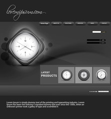Website template presentation watch black bright colorful vector