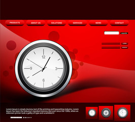Website template presentation watch bright red colorful vector