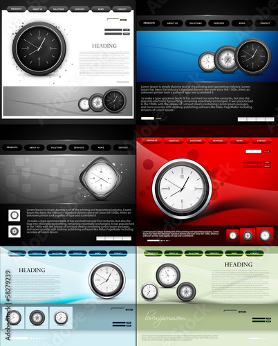 Website template presentation watch collection colorful vector i