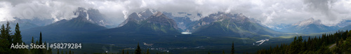 Panoramic view of Lake Louise and Surrounding Mountains