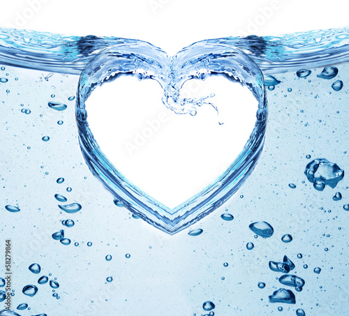 Heart from water splash isolated on white.