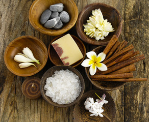 Stones, soap, salt, cinnamon, frangipani flower