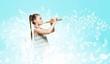 Leinwanddruck Bild - Kid with flute