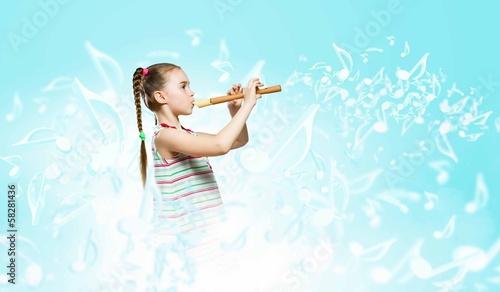 Leinwanddruck Bild Kid with flute