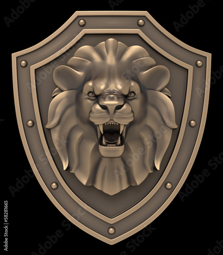 The Blazon: bronze sculpture of a lion head on medieval shield