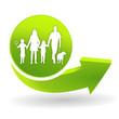 famille sur symbole vert