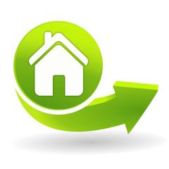 maison sur symbole vert