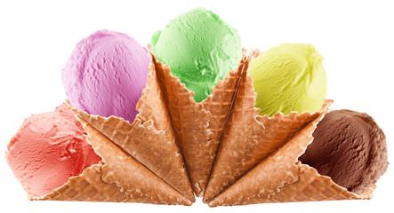 Colorful ice-creams in waffle cones.