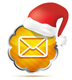 orange mail icon with Red Santa Claus Hat  isolated on a white b
