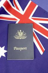 Australian flag with Australian travel passport