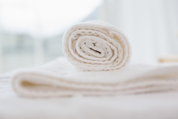 Close up of clean white towels