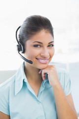 Close up of a businesswoman wearing headset