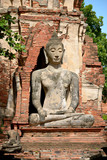 Ancient statue of sitting Buddha in Wat Phra Mahathat, Ayutthaya