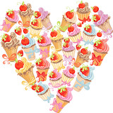 Vector cupcakes in shape of heart. Symbol valentine and love