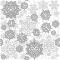 szare koronkowe płatki śniegu zimowy deseń na jasnym tle