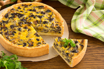 Mushroom pie with cheese and wild mushrooms.