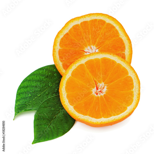 Fresh orange fruit with green leaves isolated on white backgroun