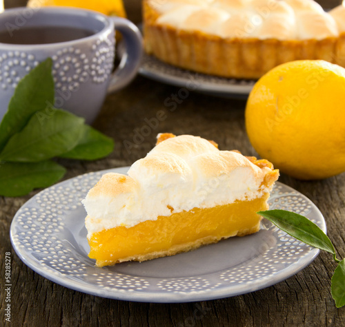 Lemon pie with meringue.