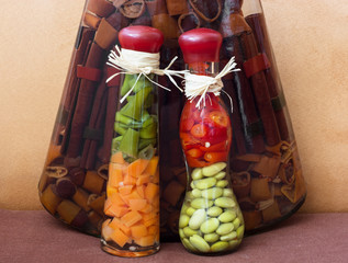 Pickle vegetable and pasta in oil
