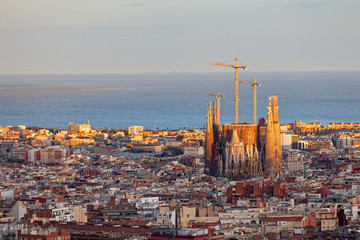 View of Barcelona from park Guel on a sunset