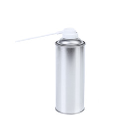 Blank aluminum spray paint can.