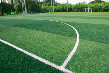 The green soccer field