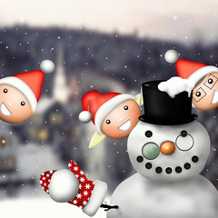 Snowman and children