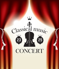 poster for concert of classical music with stage