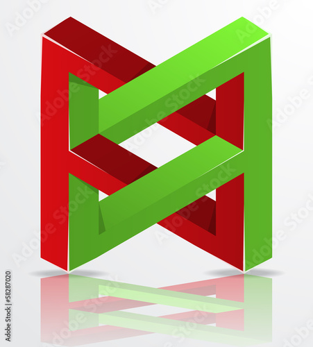 Impossible Figure Icon Sign, Infinity Concept, Abstract Vector