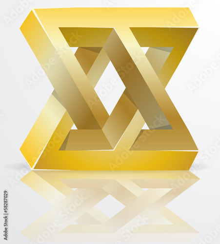 Impossible Figure Golden Icon Sign Abstract Vector