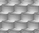 3D Cylinders Halftone Geometric Vector Seamless Pattern.