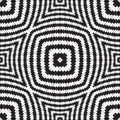 Black and White Optical Illusion, Vector Seamless Pattern.