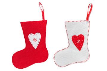 Handmade Christmas stockings isolated on white