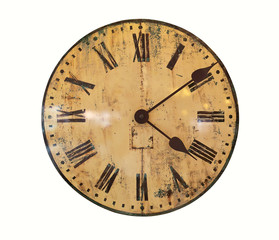 Old Clock Isolated on white background, Vintage clock