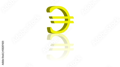 Rotating euro model with reflection. Seamless video