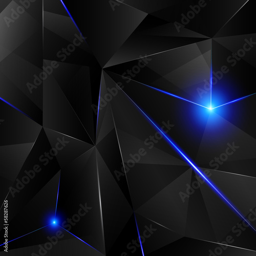 Black crystal with blue shine