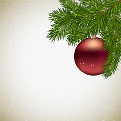 новогодний фон с елочным шаром, снегом и елочными ветками