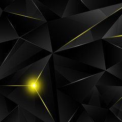 Black crystal with yellow shine