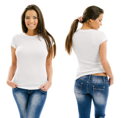 Sexy woman posing with blank white shirt