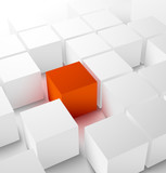 Fototapety Abstract 3D cubic background with red cube