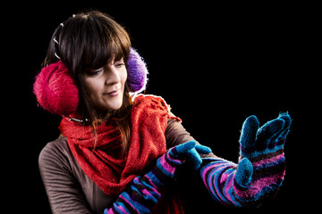 Winter girl with glove