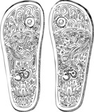 Indian traditional footwear decorated with OM symbol