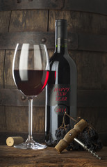 red wine with happy new year on label