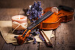 Leinwanddruck Bild - Vintage composition with violin and lavender